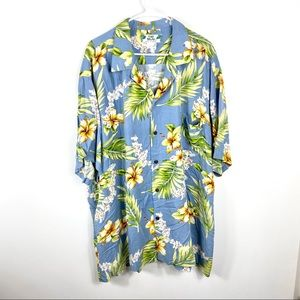 Two palms colorful green Hawaiian shirt button up